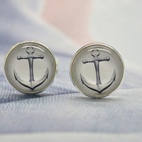 Nautical Anchor Cuff Links,Pirate Sea Anchor Resin Cuff Links, Mens Accessories, Anchor Cufflinks (XK3)