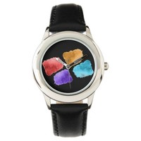 Cool Water colors patchwork texture Watch