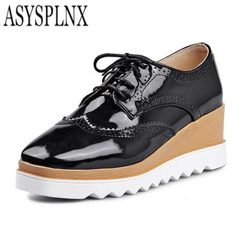 asysplnx-closed-toe-fashion-flat-platform-women-shoes-autumn-white-balck-casual-school number 1