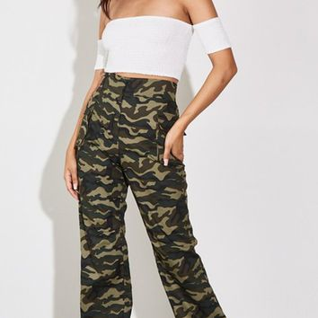 Ready For Battle Olive Green Camouflage Pattern Drawstring Cargo Pocket Loose Jogger Pants