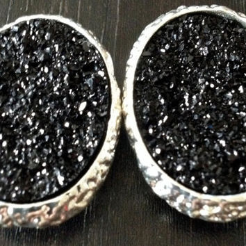 Large BLACK and Silver Oval Druzy plugs gauges earrings pair