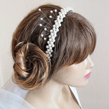 wedding headband, hairband, ivory pearl Bridal, Headpiece, wedding Accessory,  Bridesmaids, handmade, bride, gift ideas, women, etsy wedding