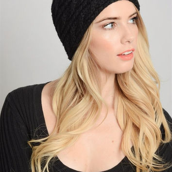 Braided Knit Headband - Black