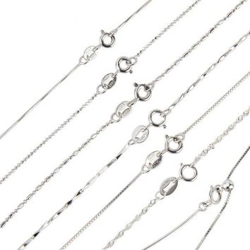925 Sterling Silver Chain Necklace Fine Jewelry Adjustable Chain (Different Lengths Available)