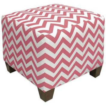 Skyline Furniture Square Ottoman in Zigzag Coral/White