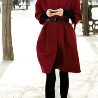 Wine Red wool women coat women dress coat Apring Autumn Winter --CO096