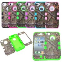 XYUN Triple Layer Hybrid Real Tree Camo Hybrid Hard Case Cover for Iphone 4 4g 4s (GREEN)