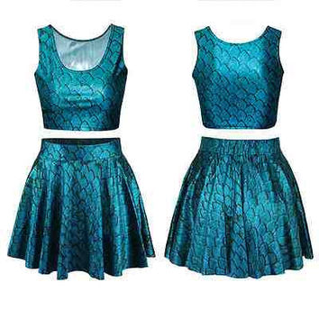 Mermaid Fish Holographic Crop Top & Skirt  (Mermaid, Cosplay, Alternative, Halloween)