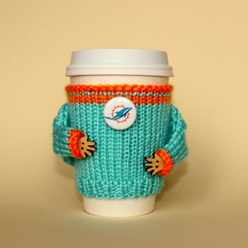 Miami Dolphins coffee cozy. NFL Florida. Aqua orange. Knit cup sleeve. Dolphins fan travel mug coozie. Office coffee. Starbucks cup holder