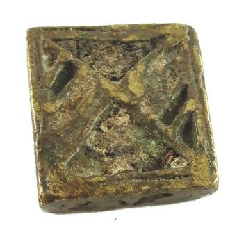 African Charms / Akan gold Weight - Square Form 8 / Trinket, unique good luck charm / Akan people old curency / African art