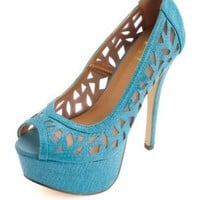 Cut-Out Python Peep Toe Platform Pumps by Charlotte Russe - Peacock
