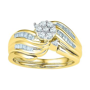 10kt Yellow Gold Women's Diamond Flower Cluster Bridal Wedding Engagement Ring Band Set 1/2 Cttw - FREE Shipping (US/CAN)