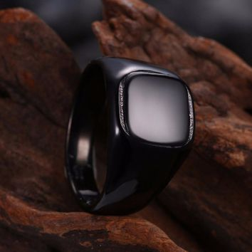 Titanium Stainless Steel Men Signet Ring Square Trendy Wedding Band Engagement Biker Male Ring Seal Punk Rock Hip Hop DCR021