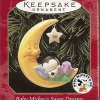 Licensed cool 1999 HALLMARK Disney Baby Mickey's Sweet Dreams Christmas Keepsake Ornament