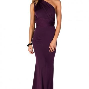 Rose Purple Backless Multiway Crisscross Wrap Halter Maxi Gown