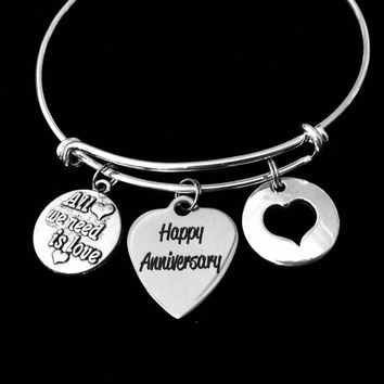 Happy Anniversary Jewelry Adjustable Bracelet Expandable Silver Charm Bangle All We Need is Love Trendy One Size Fits All Wife Gift