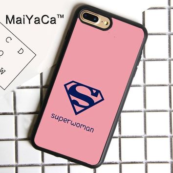 MaiYaCa pink Superwoman Print Soft Rubber Cover For iPhone 8 Plus Case For Apple iPhone 8plus Phone Cases Shell