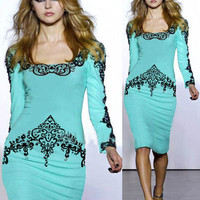 Scoop Neck Long Sleeve Filigree Print Bodycon Pencil Midi Dress