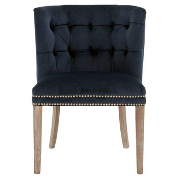 Spencer Accent Chair Navy Velvet, Weathered