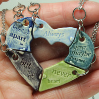 Friendship jewelry Heart puzzle pendants set of 5 Always together quote Multi Color