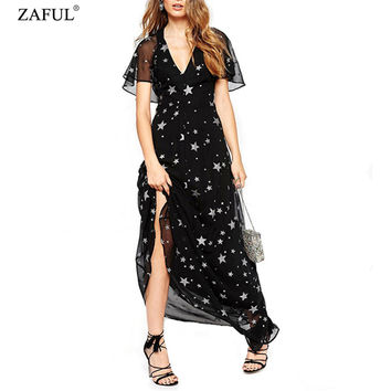 2016 Summer Women Vintage  Star Pattern  Sexy Deep V Neck Halter Lotus Sleeve Elegant Long Dress Beach Maxi Dresses