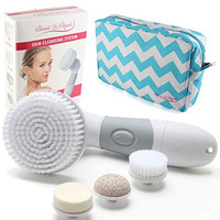 Waterproof Facial Brush Cleansing System for Face & Body. Best Skin Exfoliator, Blackhead Remover, Pore Minimizer, and Dark Spot Corrector. 6 Piece Brushes Microdermabrasion At Home Kit
