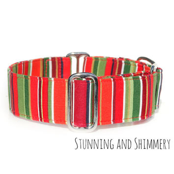 "Metallic Red Green Dog Collar, 2 inch wide martingale, 1"" Italian Greyhound, Christmas Holiday Winter Collar, Regal Elegant Collar, Sparkly"