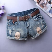 Sexy Skull Ripped Shorts Club Denim Jeans