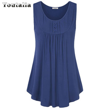 Youtalia Womens Summer Sleeveless Scoop Neck Shirts Pleats Flowy Tunic Tank Casual Tank Tops Ladies Button Vest Blusas Feminino