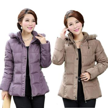 2015 Female Winter Jacket Women Middle-aged  Plus Size Fur Collar Hooded Cotton Down Jackets Winter coat Women Parka XL-5XL