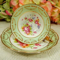 Beautiful Regency Bone China Porcelain Footed Cup & Saucer Roses Gold Encrusted