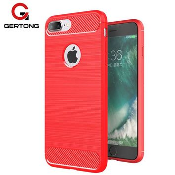 GerTong Luxury Phone Case for iPhone 7 6 S 6S Plus X 5 5S SE Carbon Fiber Texture Back Cover Mobile Phone Shell for Apple X 7 6