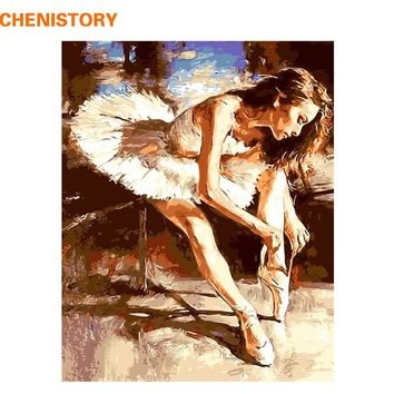 CHENISTORY Frameless Ballet Dancer Diy Painting By Numbers Acrylic Paint On Canvas Modern Wall Art Picture For Home Decor 40x50