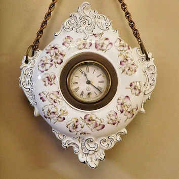 Antique Porcelain Clock Hanging Wall Clock Victorian Art Nouveau 1800s Clock Elegant Home Decor Cottage Chic RARE Hard Find Porcelain Clock