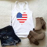 American flag heart 4th of July graphic tank top in racerback for ladies and women funny graphic shirt women gift