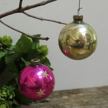 Vintage Shiny Brite Christmas Tree Ornaments Pink Gold with Glitter Stars Antique Mid-Century Christmas Decor