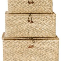 Asst of 3 Reed Trunks, Storage Boxes & Bins