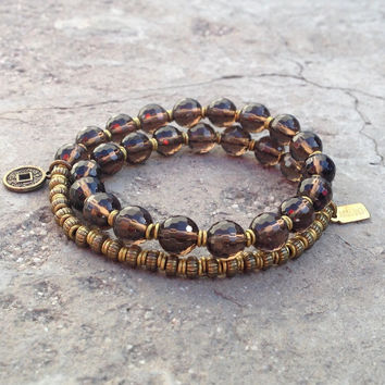 Positivity, genuine smoky quartz gemstone 27 bead wrap mala bracelet™