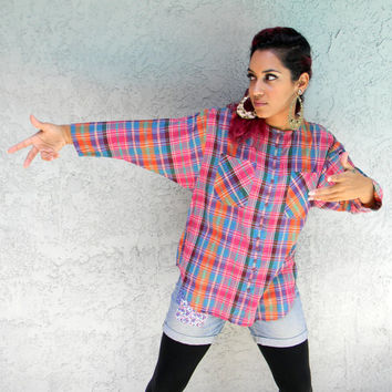 Jam On It, Vintage 80s Hip Hop B-Girl PLAID Madras Cotton Shirt, Oversized Pink Orange Purple Green & Turquoise Rainbow Plaid Blouse M
