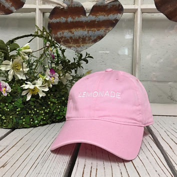 LEMONADE Baseball Hat Low Profile Embroidered LIGHT PINK Baseball Caps Dad Hats White Thread
