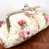 Ivory clutch with floral lace, pink flowers, cream clutch purse, floral evening bag, framed clutch