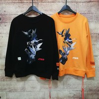 """Heron Preston"" Women All-match Red-crowned Crane Print Fashion Letter Logo Long Sleeve Sweater Tops"