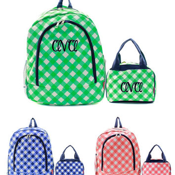 Personalized With Embroidery Coral, Mint, or Navy Blue Plaid Print School Backpack and Optional Lunch Bag