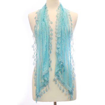 Womens Lace Design Scarf with Tear Drop Tassels