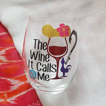 Disney Wine Glass, Moana, Disney Tumbler, The Wine It Calls Me, Glitter Wine Glass , Food And Wine Festival