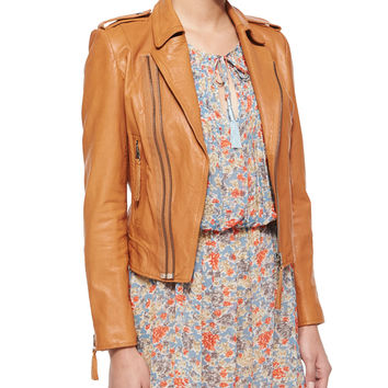 Ailey Paper-Weight Leather Moto Jacket,