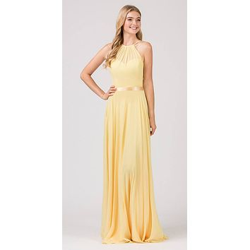 A-Line Long Halter Style Formal Dress Yellow