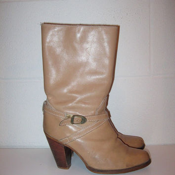 Vintage Taupe Brown Leather Boots / Women / 1980s Zodiac Boots / size 6