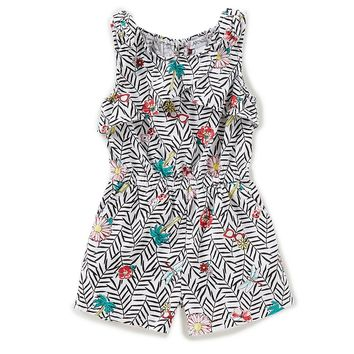 Flapdoodles Little Girls 2T-6X Printed Tie-Sleeve Romper | Dillards