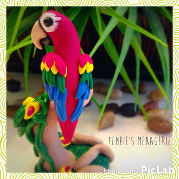 Beautiful handmade Scarlet Macaw Parrot Polymer Clay figurine - home, terrarium or vivarium decor